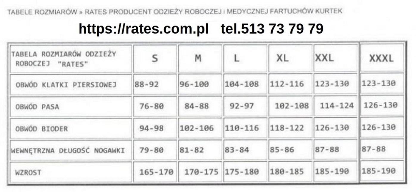 tabela rozmiarów odzieży roboczej Rates